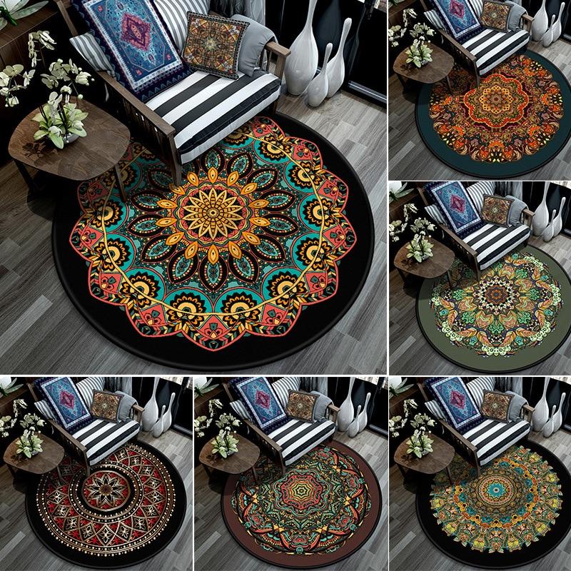 Bohemia Circle Rug Ethnic style round carpet floor mat mandala flower carpet living room bedroom kids crystal velvet home Dec