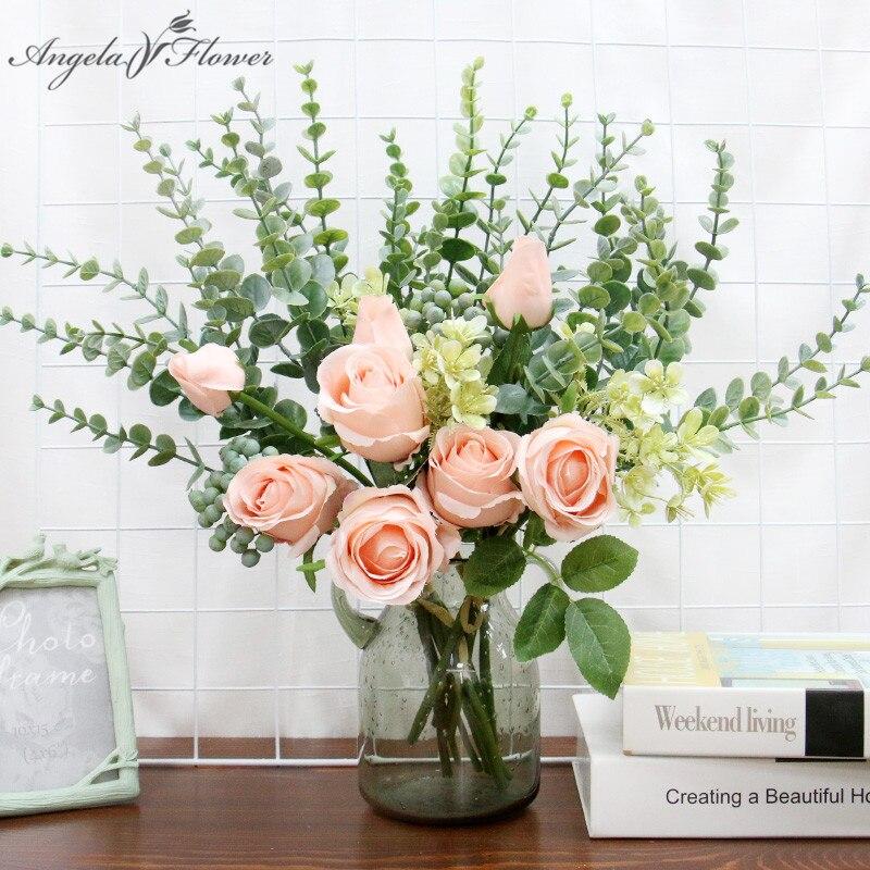 INS Bulgarische Künstliche Rose eukalyptus Bouquet Hochzeit Braut Mit Blumen Hause Dekoration Gefälschte Blumen Foto Requisiten Geschenke