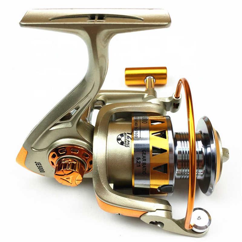 K8356 Da Pesca Bobina di Filatura di Metallo Bobina 5.2:1 12BB Cuscinetti A Sfera Pesca Alla Carpa Bobina di JE2000-7000 Semi-metallico Maniglia Mare Affrontare