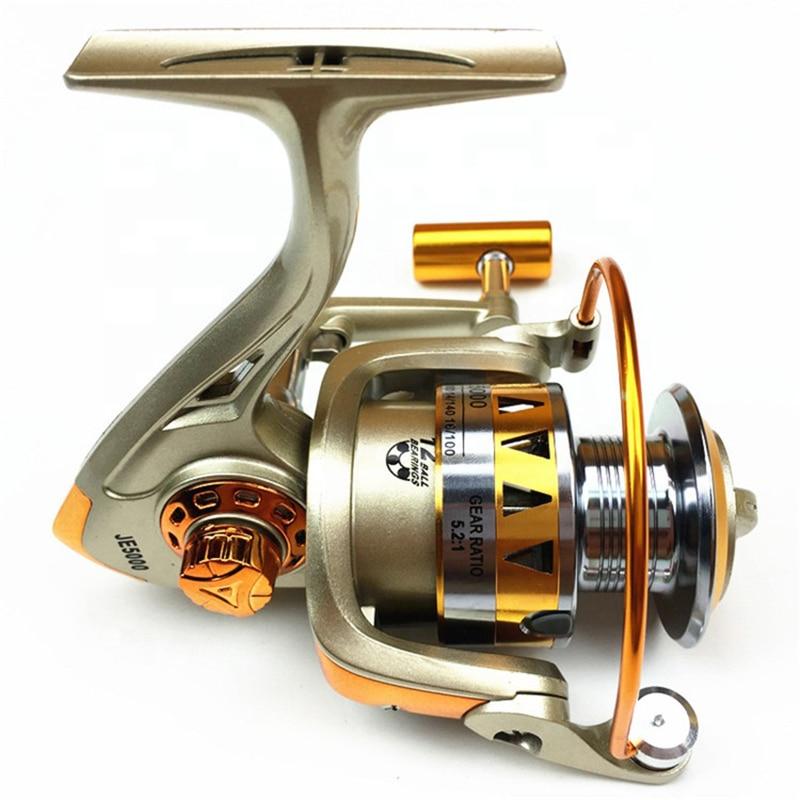 K8356 Fishing Spinning Reel Metal Spool 5.2:1 12BB Ball Bearings Carp Fishing Reel JE2000-7000 Semi-metallic Handle Sea Tackle