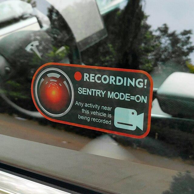 2 Pcs 자동차 센트리 모드 레코더 테슬라 모델 3 X S Y 녹음 알림 정적 스티커 내부 창 Caveat 경고 정적 스티커