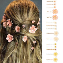 Flower Hair Clips for Women Gold Plated Cherry Blossoms Dripping Oil Hair Clip Set Bride Beautiful Hair Jewelry Female Accessory(China)