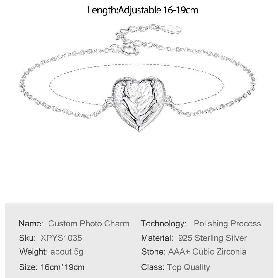 โรแมนติก 925 เงินสเตอร์ลิง Forever Love Angel Wings Heart Custom Charm สร้อยข้อมือสำหรับงานแต่งงานวันเกิดของขวัญเครื่องประดับ