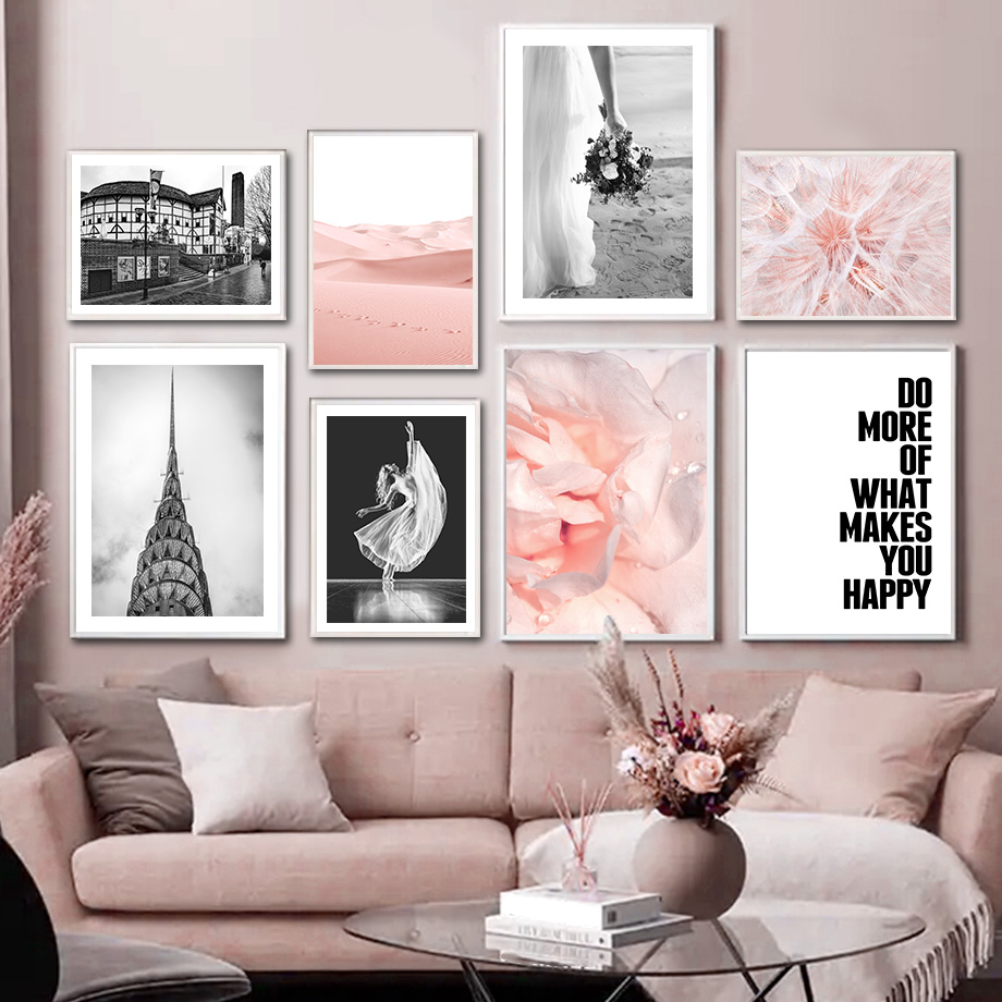 Flower Dandelion Dune Building Black Whit Wall Art Canvas Painting Nordic Posters And Prints Wall Pictures For Living Room Decor