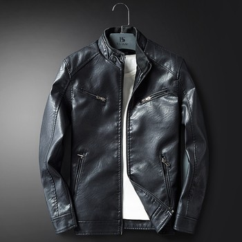 Men's Autumn Winter Casual Outwear  Zipper Breathable Patchwork  Coat Leather Jackets Fashion Casual Outwear for Man Jacket Y909