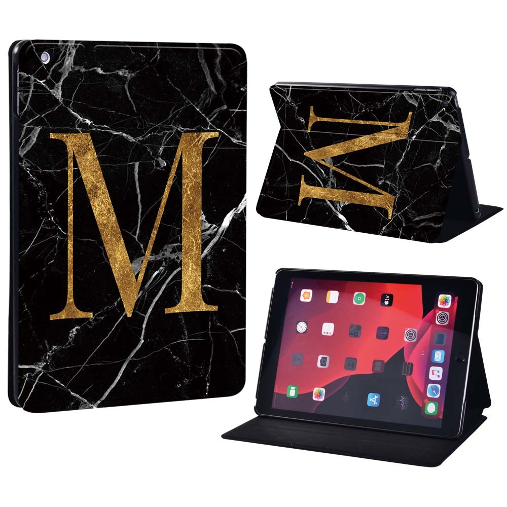 letter M on black Brown For Apple iPad 8 10 2 2020 8th 8 Generation A2428 A2429 Printing initia letters PU