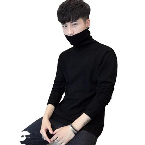 2018 Turtleneck Sweaters Men Solid Long Sleeve Pullovers Men Sweater Knitwear Jumpers Jersey Hombre Cheap Winter Sweaters