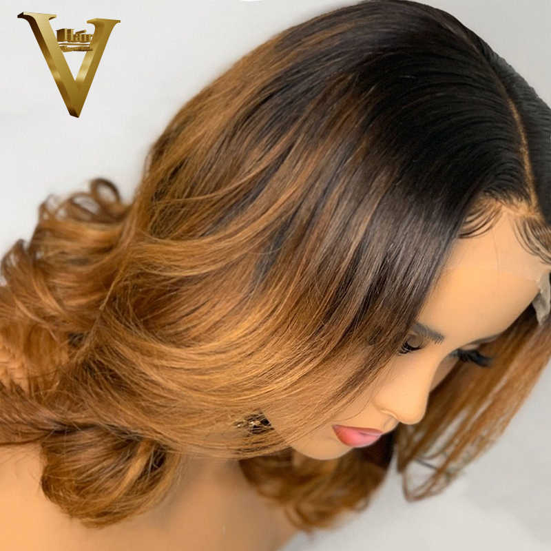 Peluca de cabello ondulado corto Bob, peluca con malla frontal de 13x4, pelucas de pelo rubio miel Ombre brasileño, pelucas de cabello humano frontal de encaje para mujeres 150