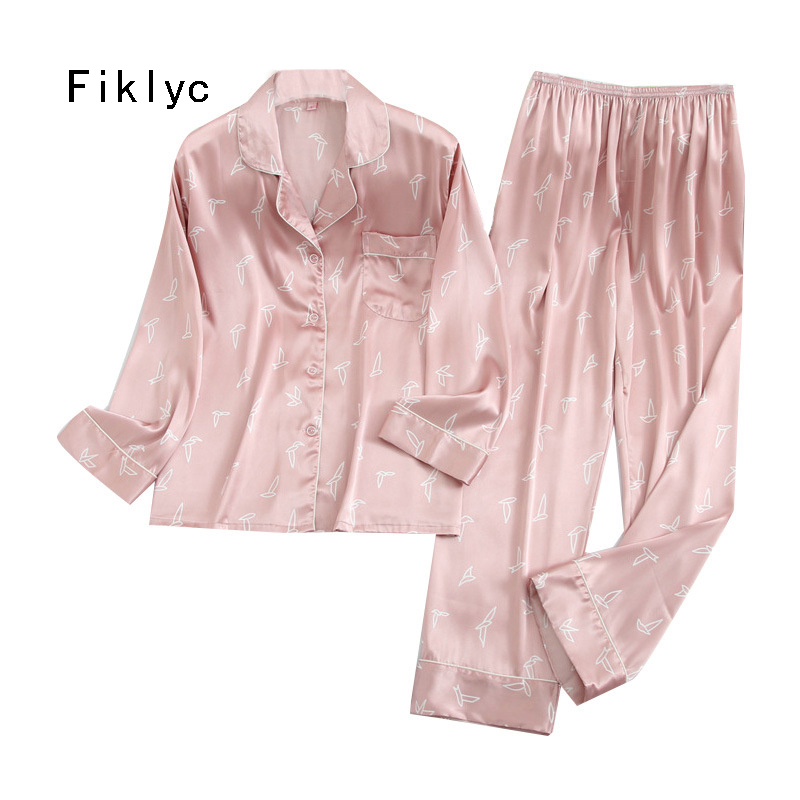 Fiklyc Underwear Female Sleep Clothing Soft Women's Satin Pajamas Sets With Printed Cute & Lovely Femme Pijamas Sets NEW