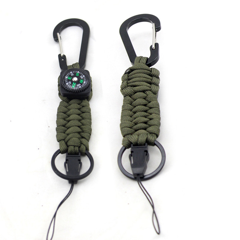 1PC Seven-core Umbrella Rope Climbing Survival Key Chain Outdoor Hand-woven Compass Keychain Outdoor Tools MZL184