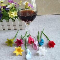 6 sztuk kwiaty kieliszek do wina Marker silikonowe etykiety dedykowane szkło Cup Recognizer narzędzia na kieliszek do wina (losowo)