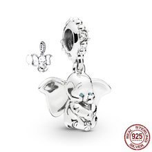 JrSr new 100% 925 Sterling Silver Beads Dumbo Dangle Charms Pendants fit Pandora Bracelets Women DIY Jewelry gifts Free shipping new fashion real 925 sterling silver windmill pendants charms fit pandora bracelets engagement for women gift free shipping