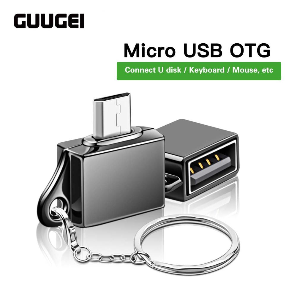 GUUGEI Micro USB OTG Male To USB Female Connector Microusb Converter Adapter Type-A Flash Drive Data Charging Adapter With Chain