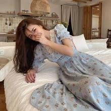 Vestido floral do vintage feminino elegante renda chiffon coreano vestido de festa puff manga v pescoço midi vestidos de queda para mulher 2021
