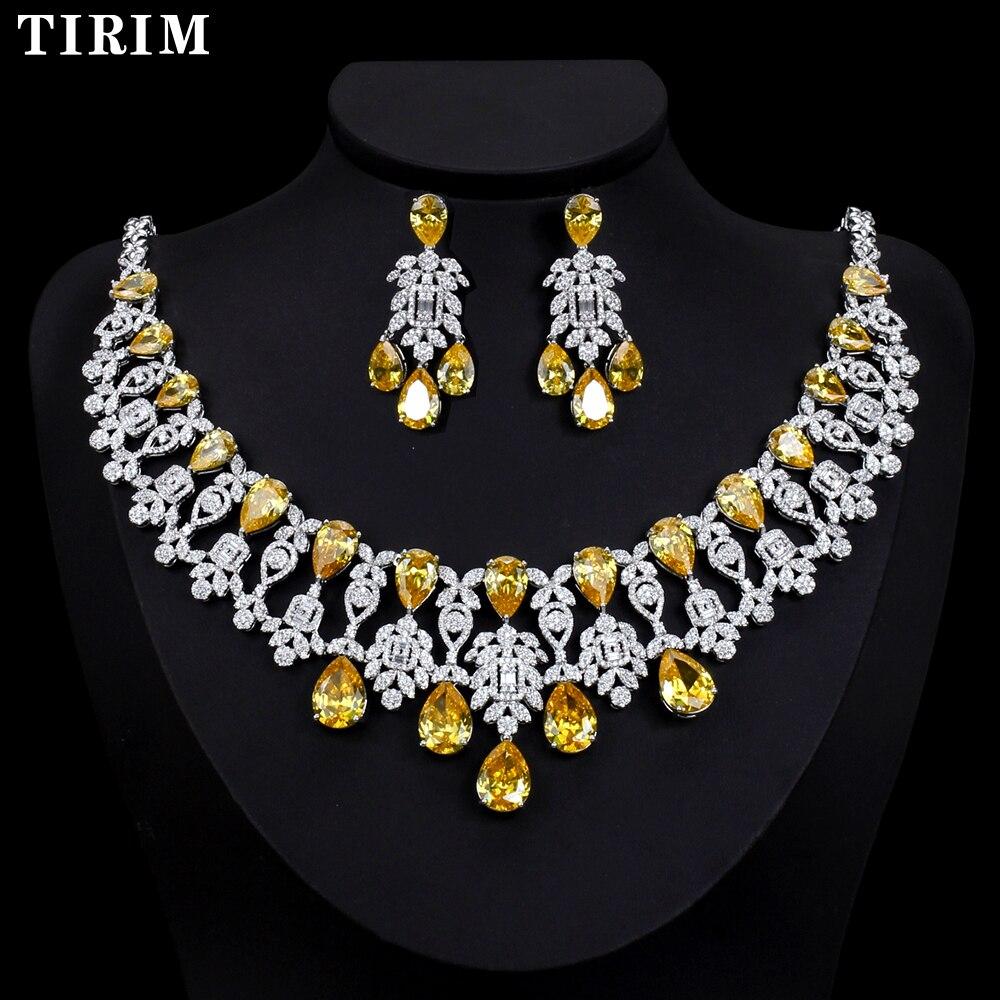 TIRIM роскошный золотой цвет Нигерия 4 шт Свадебные циркониевые ожерелья наборы для женщин ювелирные наборы и многое другое Дубай CZ