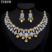 TIRIM Luxury Golden Color Nigeria 4pcs Bridal Zirconia Necklace Sets For Women Jewelry sets & More Dubai CZ