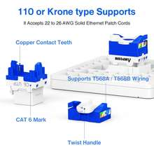 AMPCOM 10-Pack CAT6 RJ45 Tool-Less Keystone Jack, No Punch Down Tool Required UTP Module Connector White