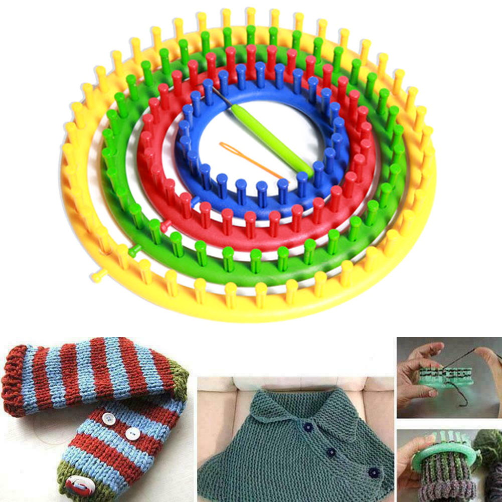 Knitting Loom Rings Handmade Circular Sewing Scarf DIY Tool Round Circle Knitter Knitting Knit Loom Kit with Hook Needle for Hat Sock Scarves
