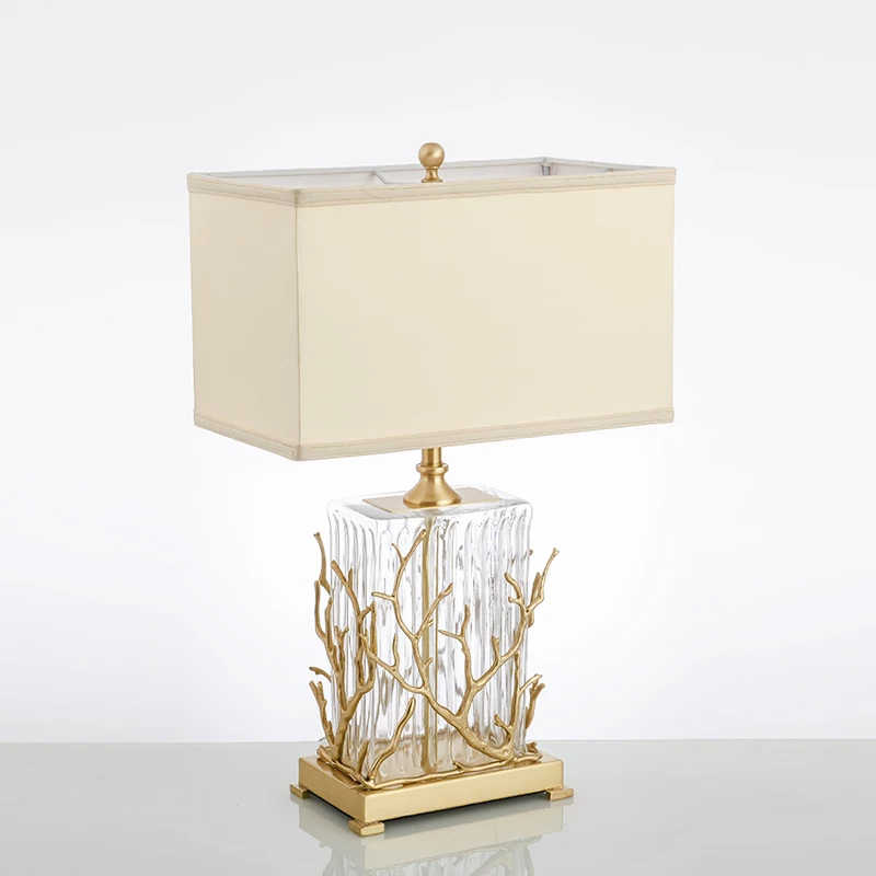 Modern copper table lamp American luxury living room hotel decorative lamp bedroom bedside lamp designer copper branch lamp