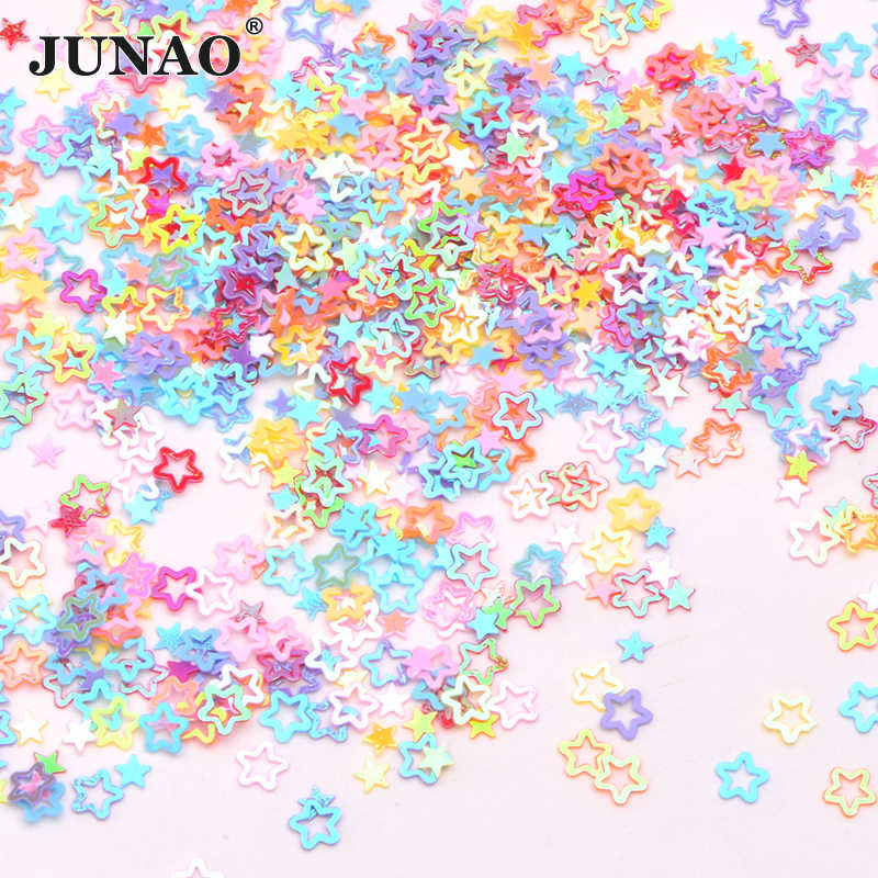 JUNAO 10g 3 มม.4 มม.สีผสม Glitter ดาวขนาดเล็กเล็บเล็บเล็บเล็บตกแต่ง Confetti หลวมเย็บ Spangles paillette สำหรับงานฝีมือ