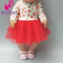 "For dolls clothes lace Christmas snow tree dress for 18"" girl doll dress baby girl paly toys dress(China)"