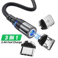 Cavo USB magnetico Micro USB tipo C 1M 2M cavo lungo a ricarica rapida per iPhone 11 Por Samsung S10 caricabatterie per telefono cellulare cavi LED