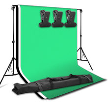 ZUOCHEN Photo Studio Backdrop Support Stand Kit 1.6 x 3m Black/White/Green Backdrop Screen With 2*2M Studio Stand for Video