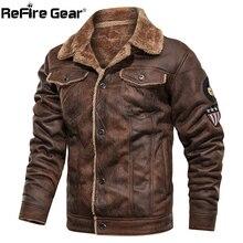 ReFire GearฤดูหนาวWarm Warmเสื้อแจ็คเก็ตยุทธวิธีผู้ชายนักบินเครื่องบินทิ้งระเบิดทหารแจ็คเก็ตหนาขนแกะผ้าฝ้ายผ้าขนสัตว์Coat
