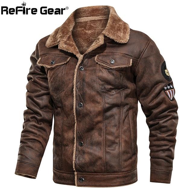 Refire engrenagem inverno quente do exército tático jaquetas homens piloto bombardeiro vôo militar jaqueta casual grosso lã de algodão forro casaco