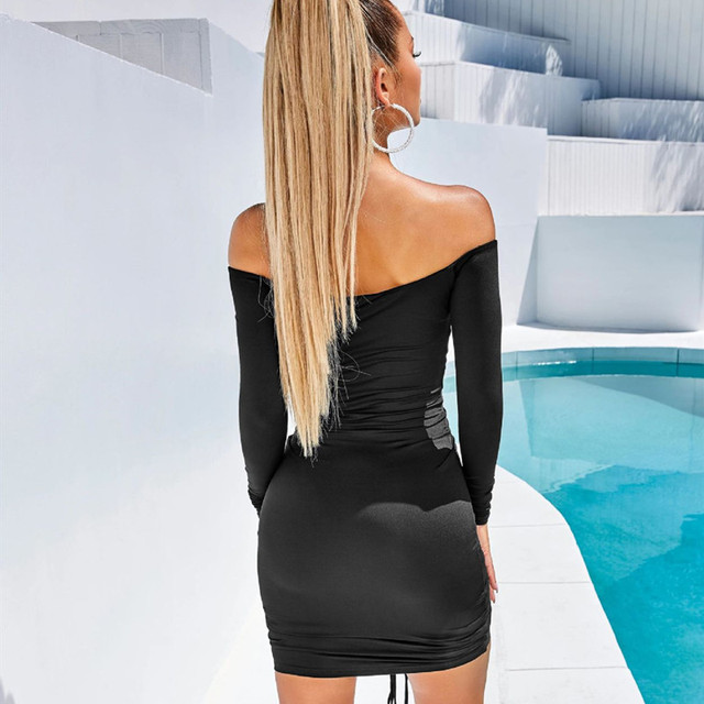 ANJAMANOR Sexy Club Dresses Woman Party Night Drawstring Ruched Off Shoulder Long Sleeve Bodycon Bandage Dress Fall D36-AA43 2