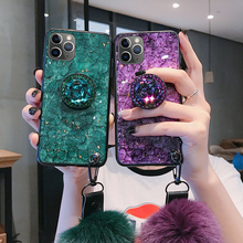 Marble Diamond Lanyard Bracket Cases For iPhone 12 11 11Pro Max XR XS Max 6 6S 8 7 Plus 12mini SE2020 Bling Crystal Holder Cover