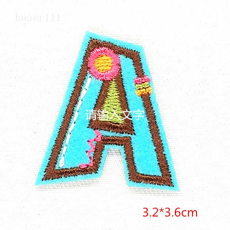 Letras del alfabeto Bordada Parche de hierro en Insignia cose en Varios Colores A-Z