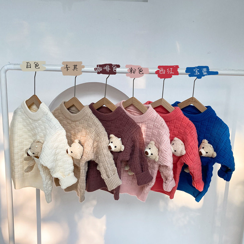 13.48US $ 50% OFF Baby Sweater Autumn And Winter New Cartoons Bear Knit Sweater Baby Pullover Boys S...