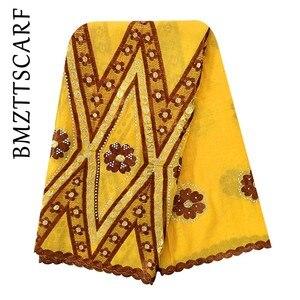 Image 2 - Écharpe 100% en coton, écharpe pour femmes africaines, grande écharpe brodée pour femmes musulmanes, châle, BM973