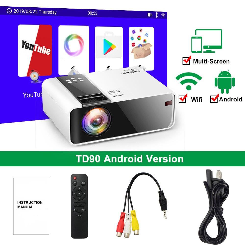 ThundeaL HD мини-проектор TD90 встроенный 1280x720 P светодиодный Android WiFi проектор видео домашний кинотеатр 3D HDMI Видеопроектор - Цвет: Android Version