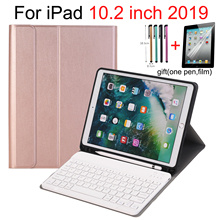 "Keyboard Case For iPad 10.2 7th Gen 2019 10.2"" with Pencil Holder , Smart Stand Auto Sleep/Wake Spanish Russian English Keyboard"