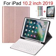 """Klavye durumda iPad 10.2 7th Gen 2019 10.2 """"kalem tutucu ile, akıllı standı otomatik uyku/Wake İspanyolca rusça İngilizce klavye"""