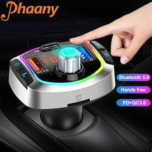 Phaany Bluetooth 5.0 Handsfree Car Kit FM Transmitter Stereo Radio Car MP3 Player QC3.0 Quick Charge Dual Screen Display