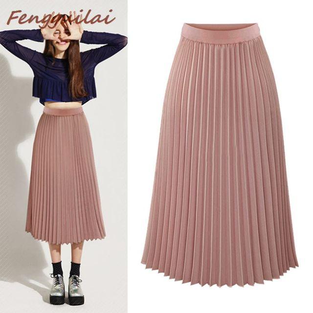 Фото женская плиссированная юбка средней длины на пуговицах однотонная цена
