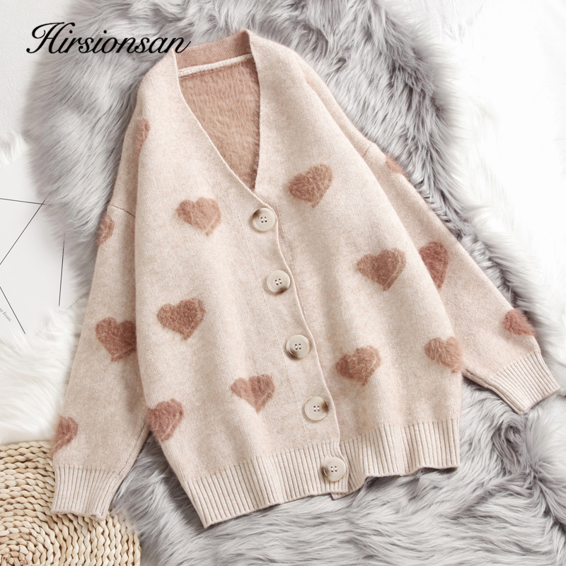 Hirsionsan Cashmere Sweater Women Autumn Winter 2019 Knitted Cardigans Kawaii Heart Loose Clothes Oversized Soft Warm Pull Femme