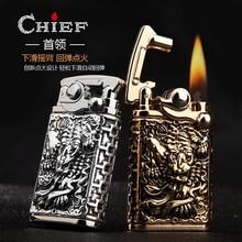 CHIEF Jinchan relief boutique copper shell rocker kerosene lighter high-end WITH gift box, No Kerosene boutique gift brush set red sandalwood bar luozhiyunyan high end cents exquisite gifts