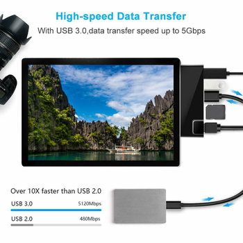 ABS Mini Plug And Play 4K HDMI Computer RJ45 Ethernet Port USB Hub Lan  Adapter Docking Station Led TF For Surface Pro 6