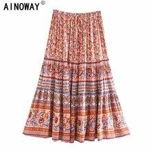 Jupe Midi Boho en coton rayonne pour femmes, Vintage chic Hippie, imprimé floral, taille haute, élastique, pour plage, style bohème