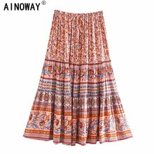 Vintage chic Hippie women floral printed  High Elastic Waist beach Bohemian skirt ladies rayon cotton A Line  Boho Midi skirt