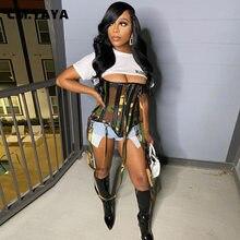 CM.YAYA-Croset con estampado de camuflaje para mujer, Top recortada sin breteles con cremallera, para exteriores