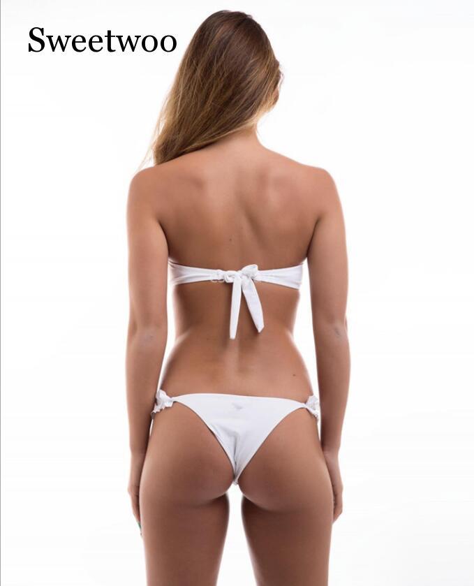 2019 Summer Sexy 9 Color Swimsuit Women Bikinis Set Ruffles Women Solid Bandage Tankini Set Brazilian Swimwear Summer Beach Suit