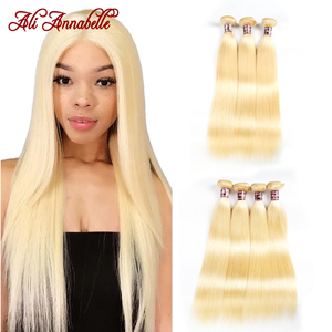 Ali Annabelle 613 Blonde Hair Bundles Malaysian Straight Hair 1/3/4 Bundles Deal Remy Hair Weaving Human Hair Bundles 10-28 Inch