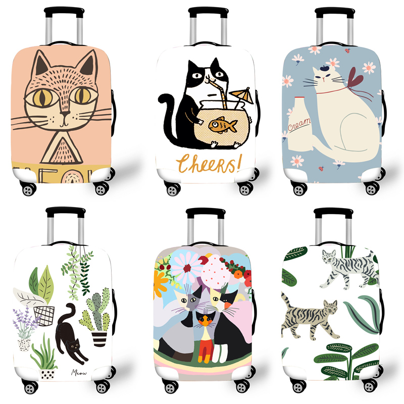 Elastic Luggage Protective Cover Case For Suitcase Protective Cover Trolley Cases Covers 3D Travel Accessories Cat Pattern T0120