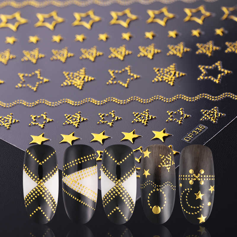 1 Sheet 3D Nail Sticker Geometric Moon Star Stripes Wave Line Mixed Patterns Gold 3D Nail Art DIY Design Decoration