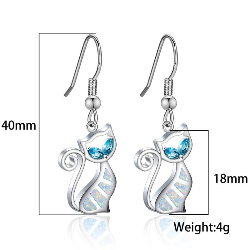 White Blue Opal Cute Cat Drop Earrings For Women Vintage Fashion Animal Jewelry Aqua Blue Birthstone Dangle Earrings Bridal Gift